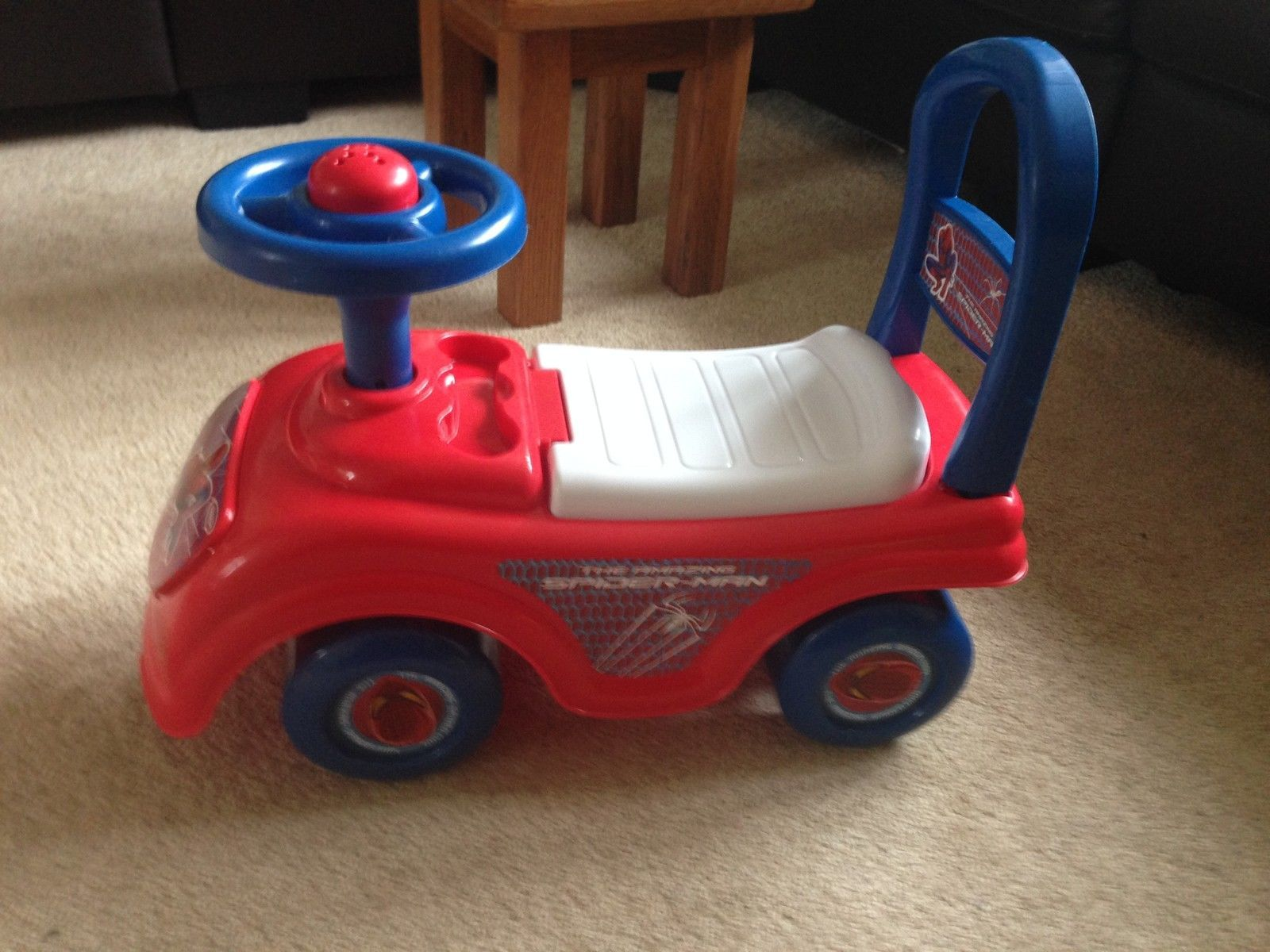 ... Spider Man Sit And Ride On Toy Storage Under Seat, Horn And Push Along  Safety ...